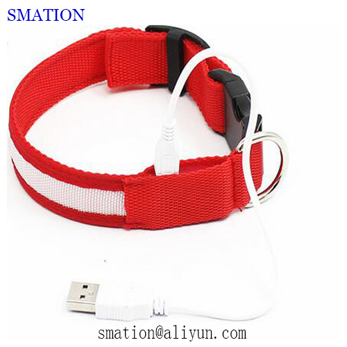 Reflective Pet Camouflage Nylon Cheap Fashion LED USB Rechargeable Dog Collars