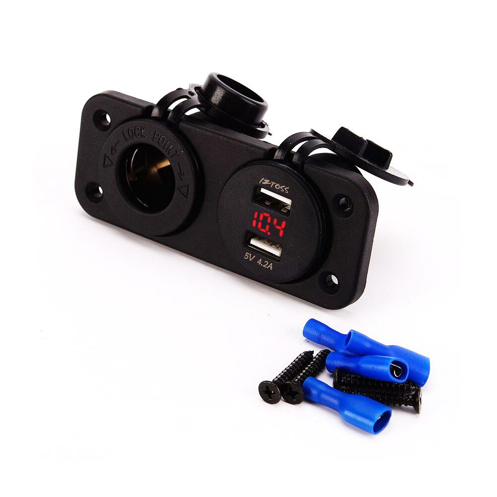 Waterproof Blue LED 12-24V 1A 2.1A Car Motorcycle Cigarette Lighter Socket