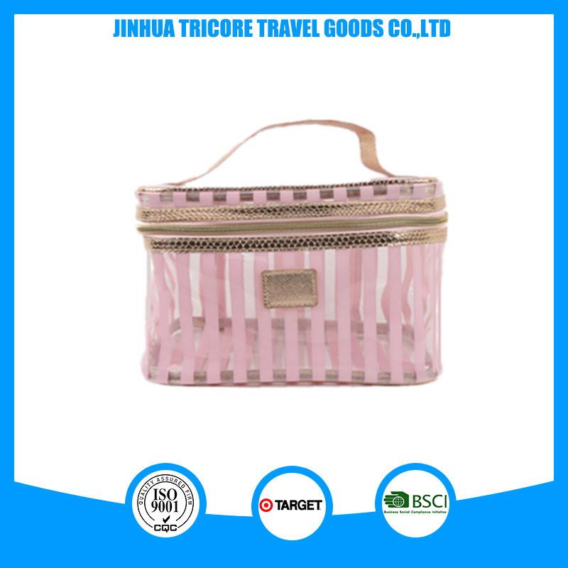 Popular Women Stripe PVC Tote or Make-up Bag