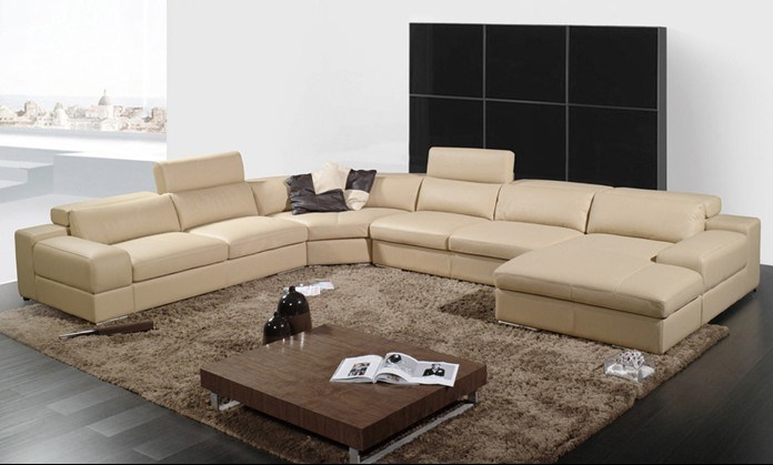 China u shaped combination large family function leather for Sofas grandes modernos
