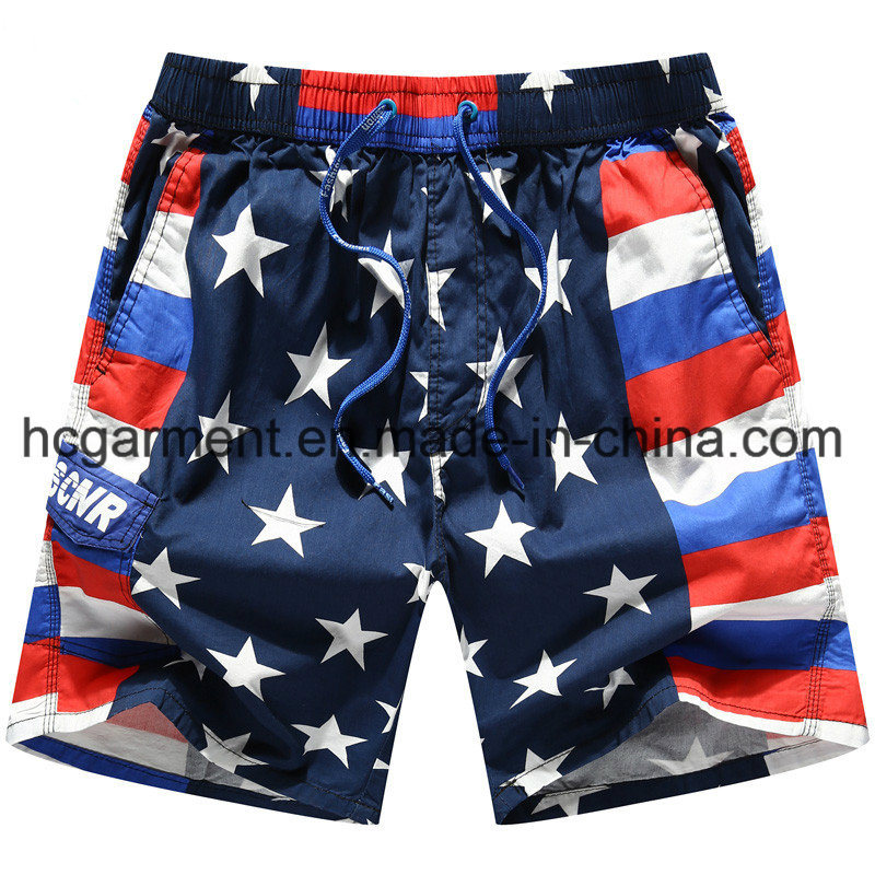 Nylon Fabric Boards Shorts, Man′s Start Printed Beach Shorts