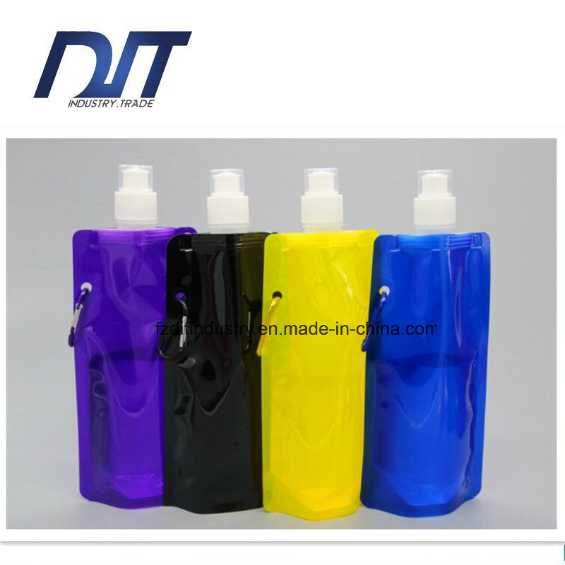 Plastic Foldable Water Bottle Light Weight Reusable Folding Water Bag