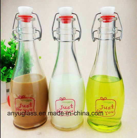 Glass Milk Bottles with Swing Top Cap for Beverqage