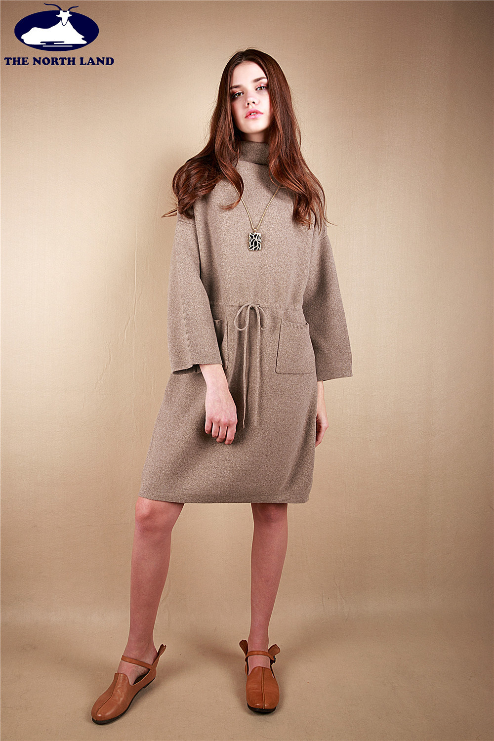 Cashmere High Neck Long Pullover with Belt String