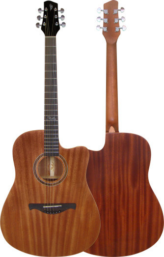 China laminated mahogany wood dreadnough cutaway acoustic