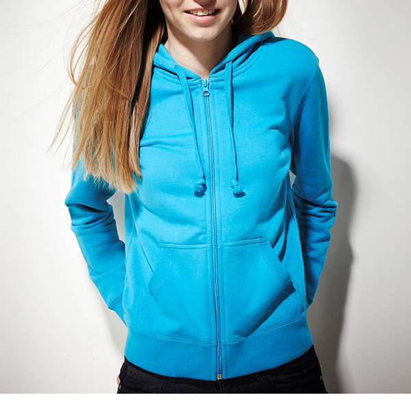 China Hot Sale Women's Blue Plain Cotton Hoody Photos & Pictures