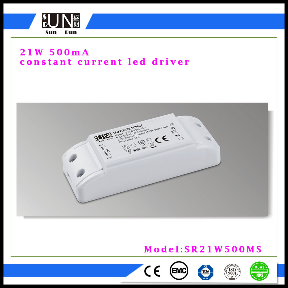500mA Output 27V-42V 21W LED Power Supply, COB LED Chip, LED Fitting, 21W 24W LED Panel Driver, for LED Down Light