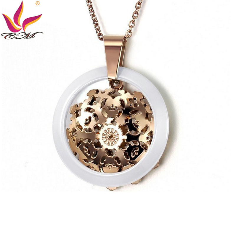 Fashion Rose Gold Color Ceramic Healty Care Pendant Necklace