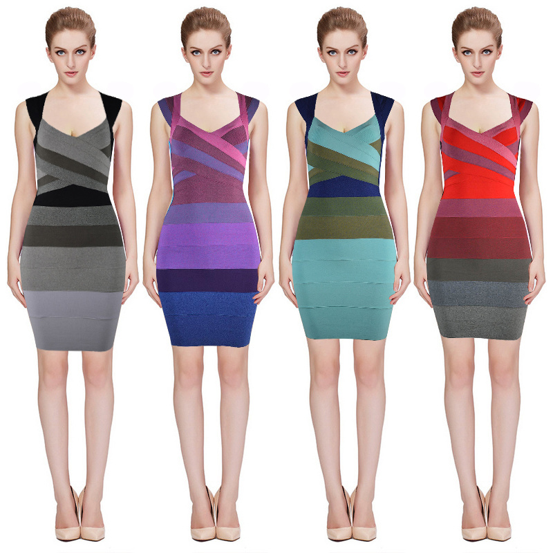 Hang Neck Style Grading Colored Bandage Party Dress