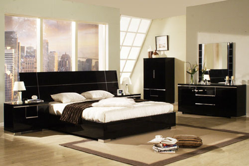 China black high gloss bedroom china mordern furniture for High gloss bedroom furniture
