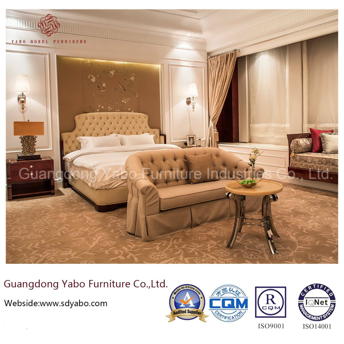 Modern Luxury Hotel Furniture with Wood Bedroom Set (YB-827)