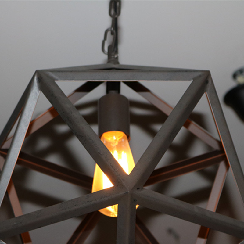 Antique Black Metal Brid Cage Pendant Lamp for Livingroom