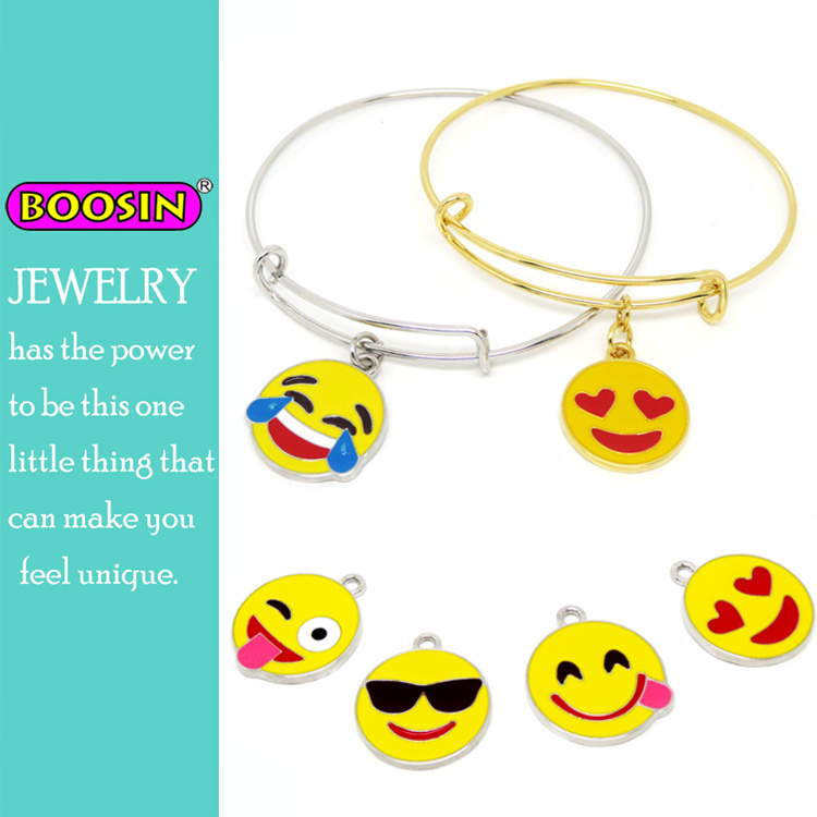 Custom Emoji Charms Adjustable Wire Bangle Bracelet
