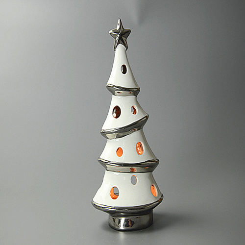 Spot Goods! Ion Plating Christmas Tree Shaped Candle Holders Ceramic
