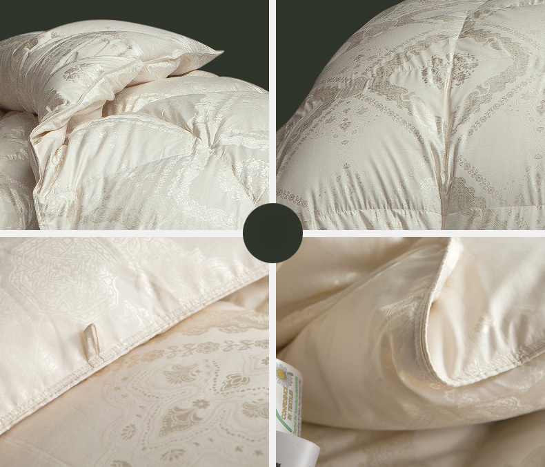 Silk Fabric Cover White Goose Down Quilt for Home