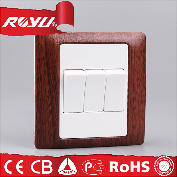 BS Wooden Color 3gang 10A 220V Electrical Switch