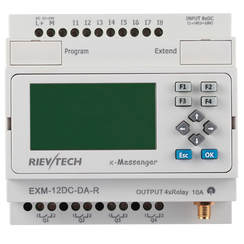 GSM/SMS/GPRS PLC, Ideal Solution for Remote Control& Monitoring &Alarming Applications (EXM-12DC-DA-R-HMI)
