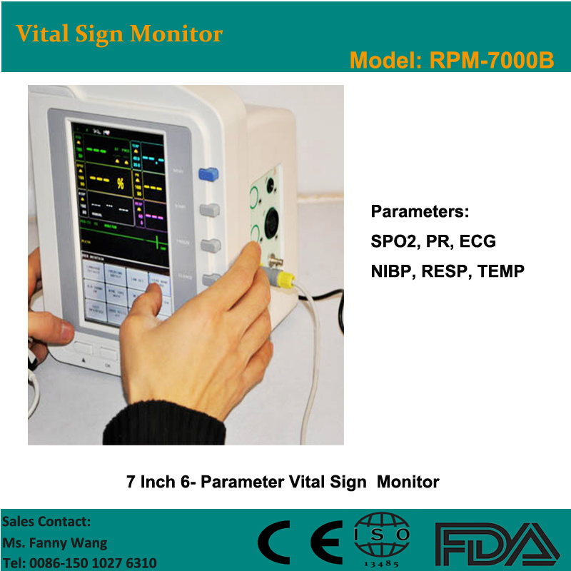 CE Approved 7-Inch 6-Parameter Touch Screen Patient Monitor (RPM-7000B) -Fanny