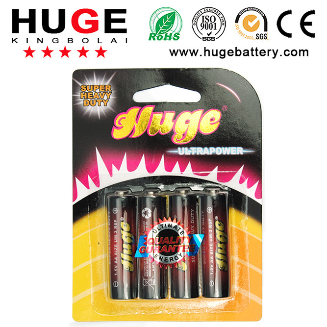 1.5V AA PVC Jacket Carbon Zinc Battery (UM-3/R6P)