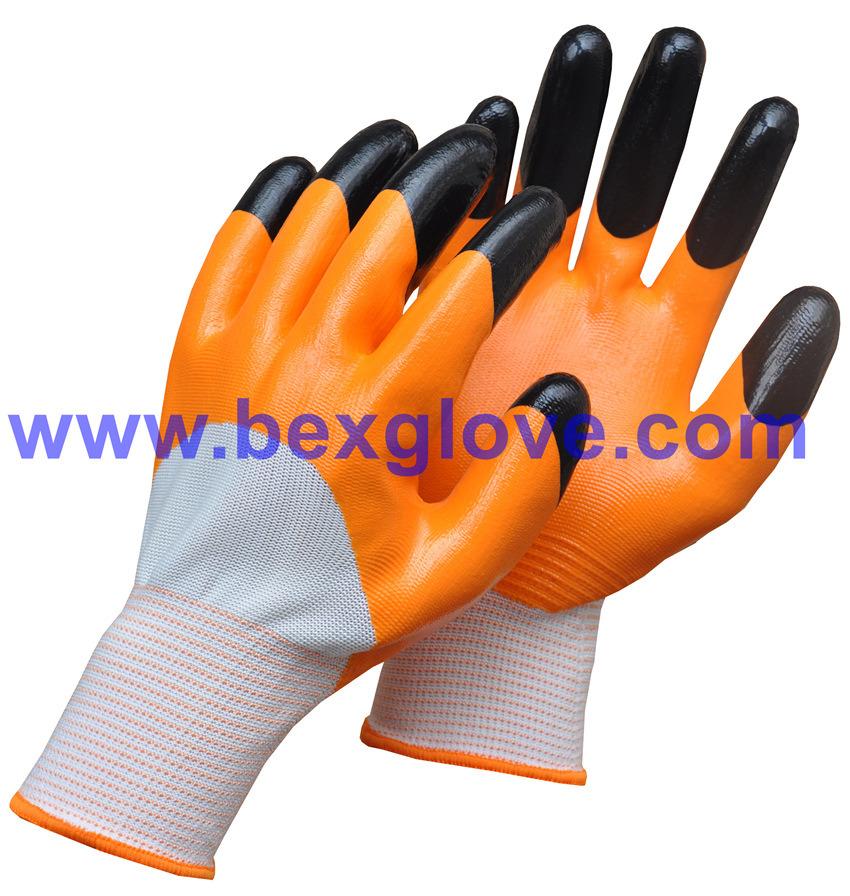 13 Gauge Polyester Liner, Nitrile Coating, 3/4 Safety Gloves