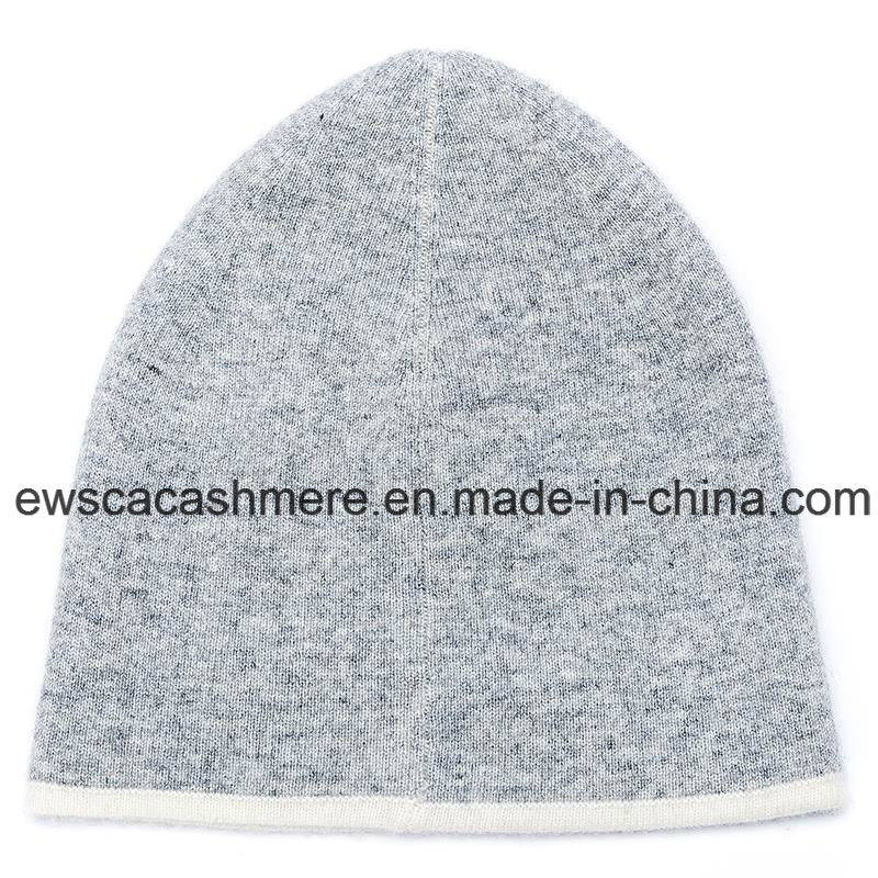 Lady′s Double-Color Top Grade Pure Cashmere Hat A16wa2-001
