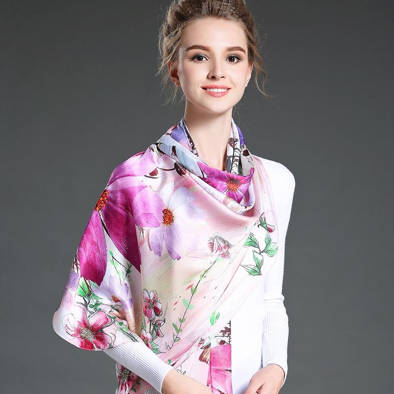 Digital Printing Long Silk Scarf for Women Girls