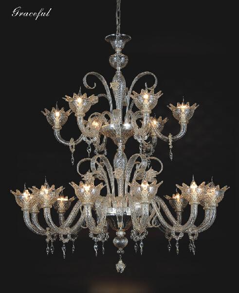 Beautiful Clear Modern Glass Pendant Chandelier (81040-12+6)