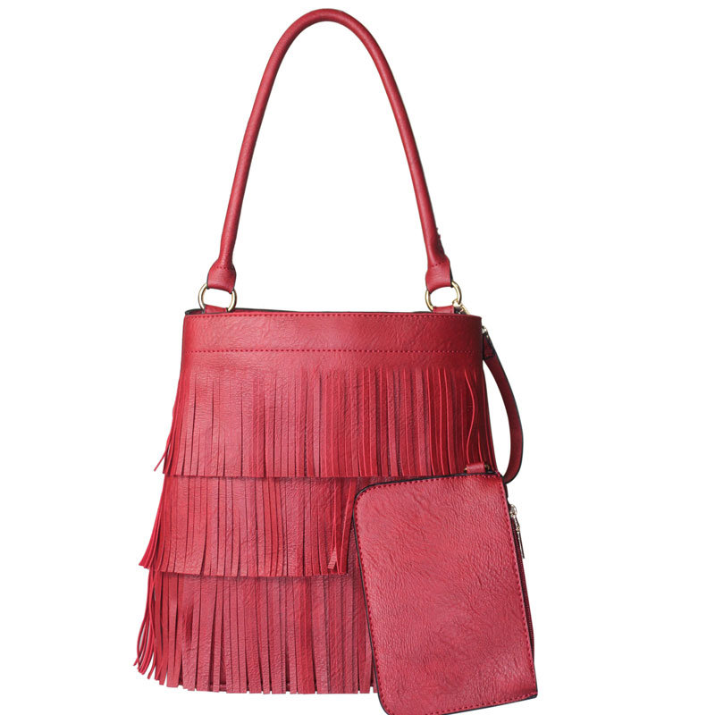 Fashion PU Tassel Ladies Tote Bag with Purse