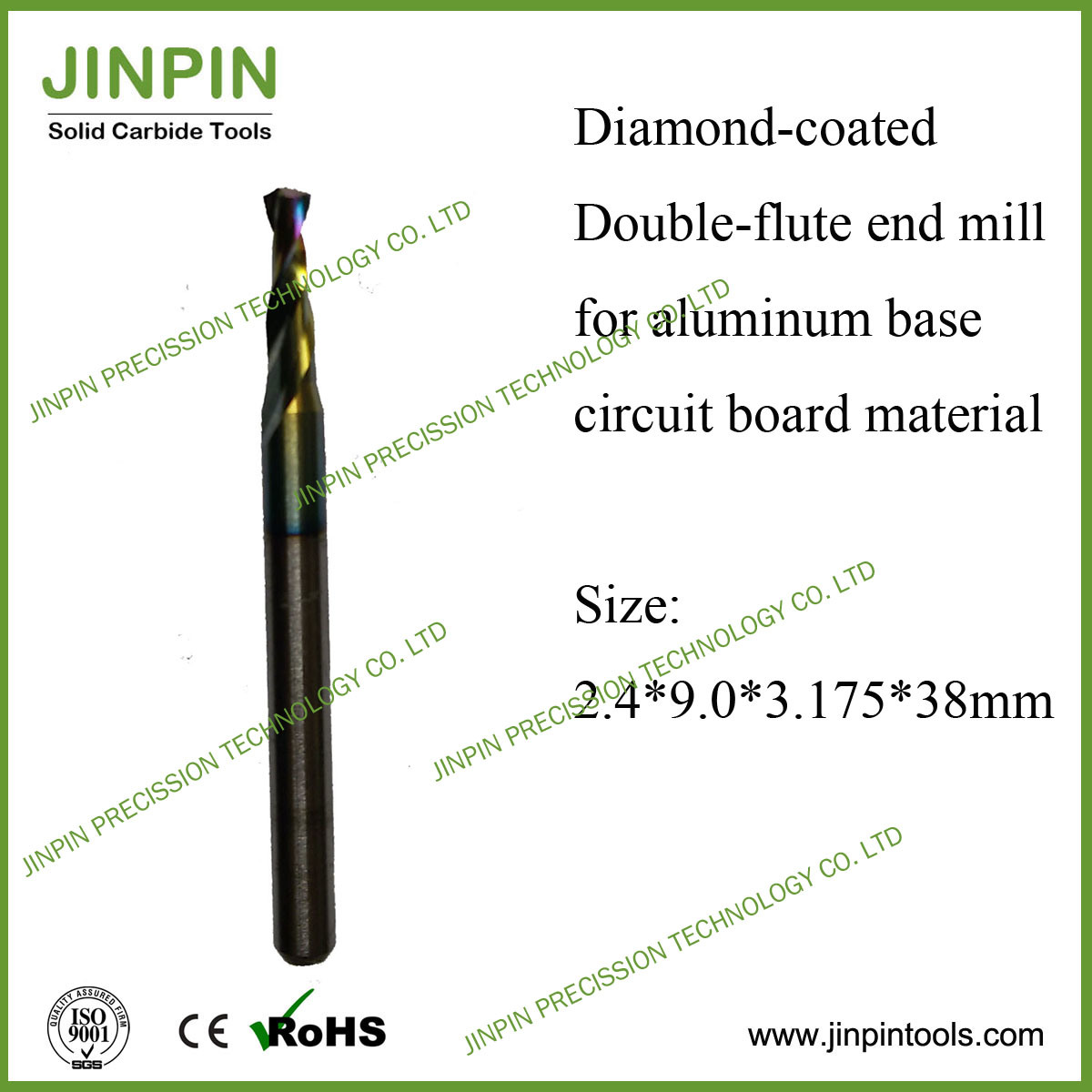 Diamond Coated 2-Flute End Mill for Aluminum Backed Pcbmaterial