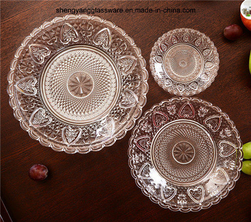 3 PC Set Food Grade Transparency Embossment Glass Plate Tableware