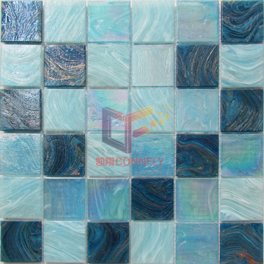 Gold Line Rainbow Color Crystal Swimming Pool Glass Mosaic for Pool (CSJ103)