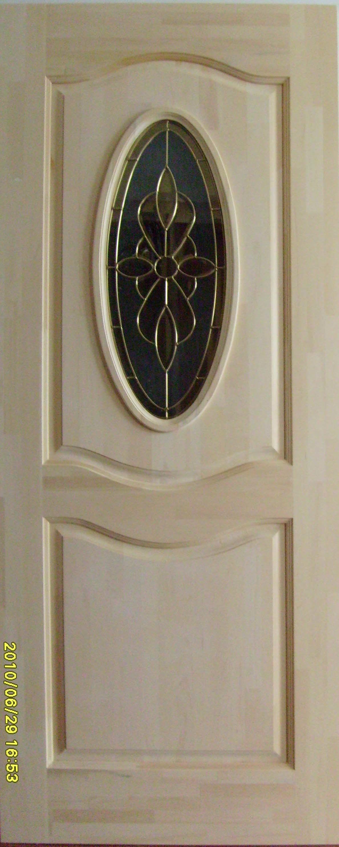 Solid Pine Wood Door with Beautiful Glass