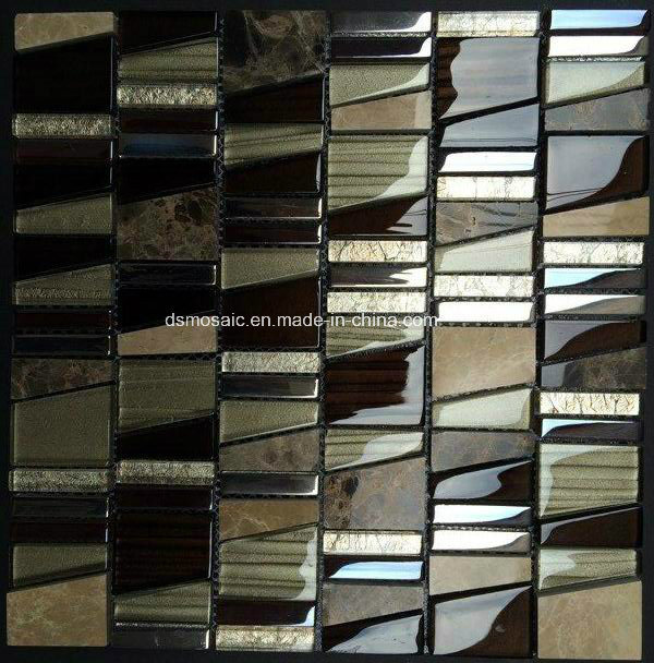 Luxuary Trapezoid Glass and Natural Stone Mosaic Tile
