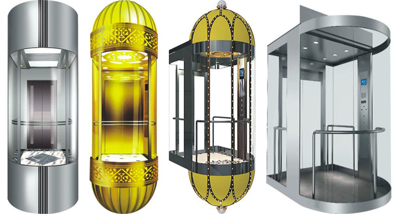 Half-Round Type Observation Elevator with Full Glass Cabin
