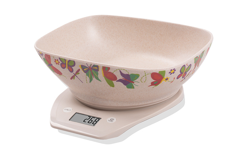 Large Bamboo Fibre Bowl 1.5L Electronic Kitchen Scale (BK715)