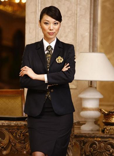 2014 Women′s Black Slim Fit Hotel Uniform