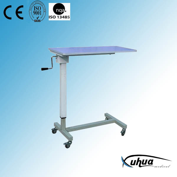 Medical Device Wooden&Steel Hospital Overbed Table (L-1)