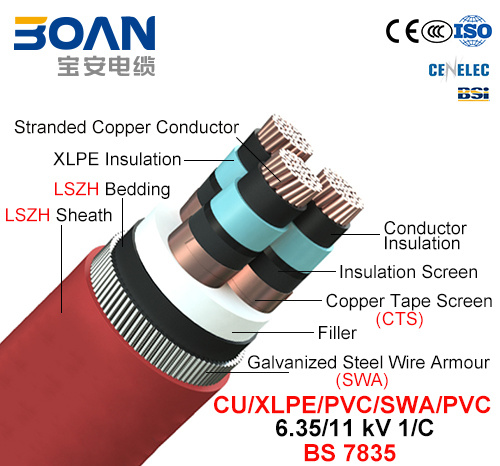 Cu/XLPE/Cts/Lszh/Swa/Lszh, Power Cable, 6.35/11kv, 3/C (BS 7835)