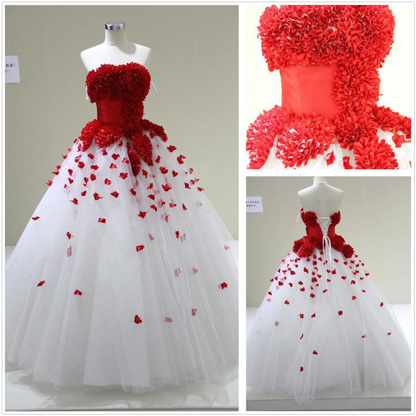 Red and white ball gown wedding dress quotes for Wedding dresses white and red