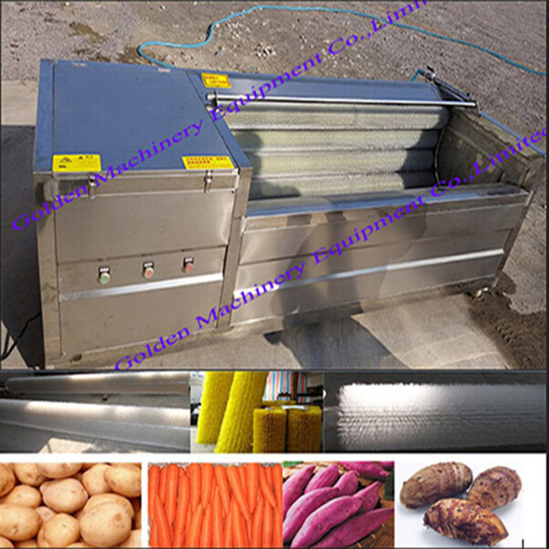 Stainless Steel Brush Model Vegetable Washing Washer and Peeling Machine