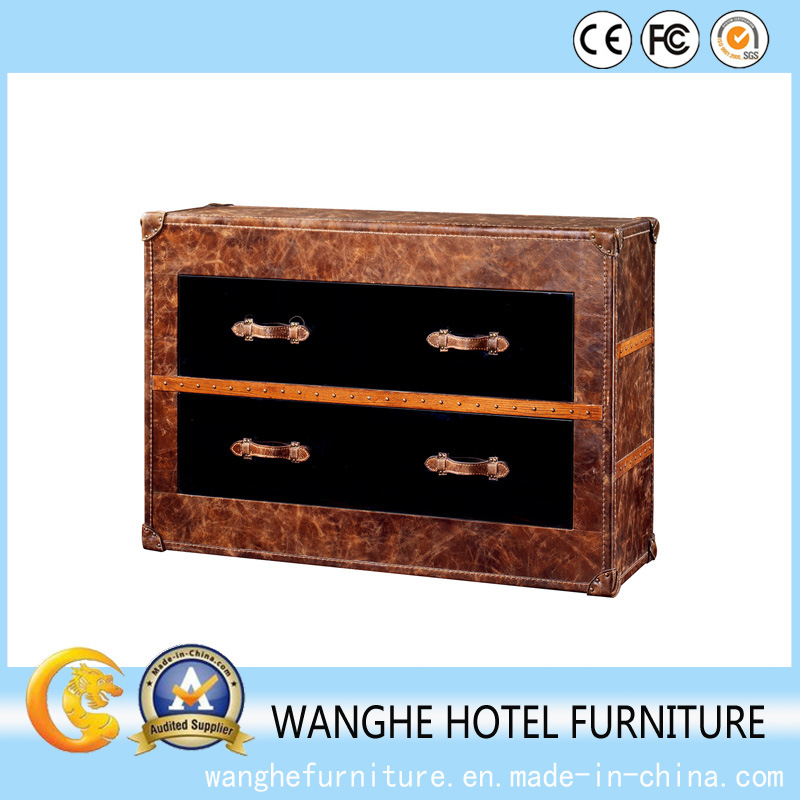 Hotel Furniture Tempered Leather Side Table Coffee Tea Table