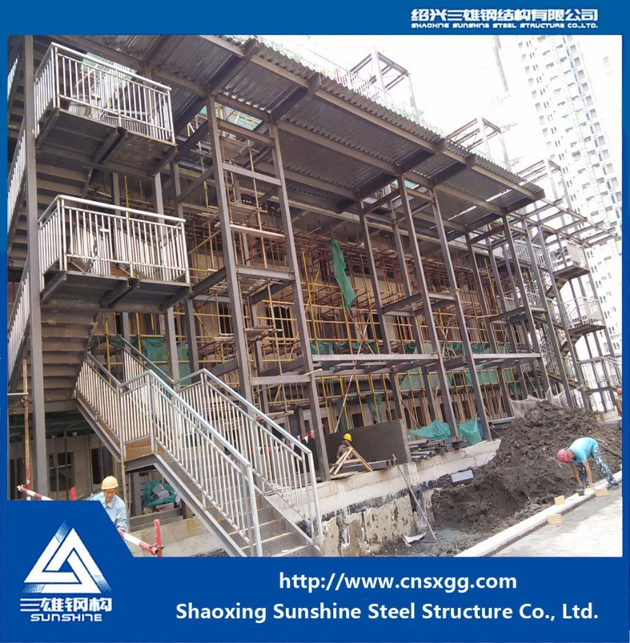 Welded Steel Structure Straight Stairway with H Beam for Prefab House