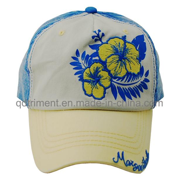 Contrast Stitching Print Applique Embroidery Sport Baseball Cap (TMB0357)