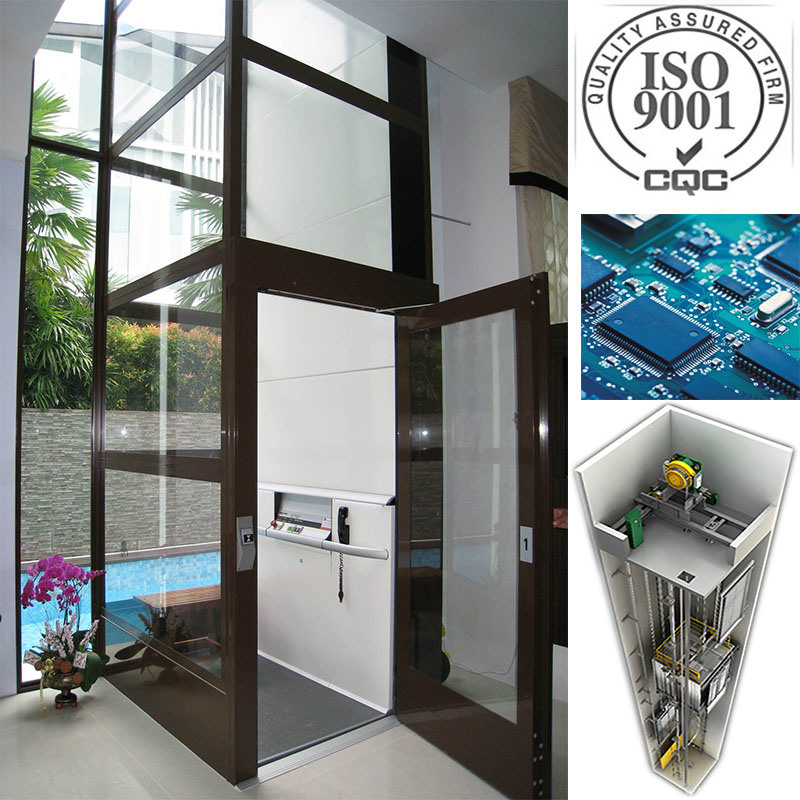 ISO9001passenger Sightseeing Home Elevator Villa Lift Without Machine Room