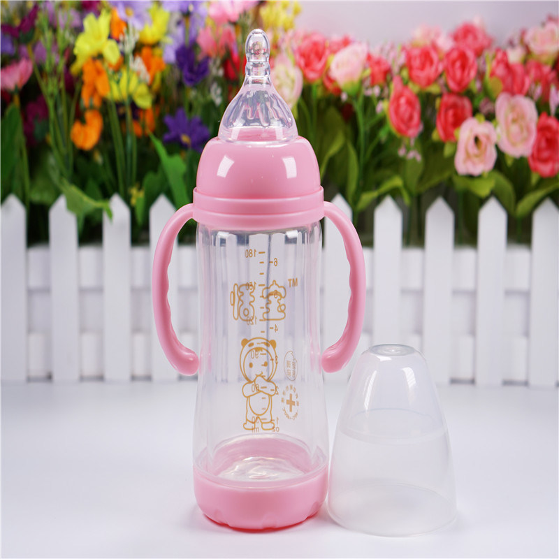 180ml Crystal Diamond Baby Glass Bottle with Break-Resistant Sleeve