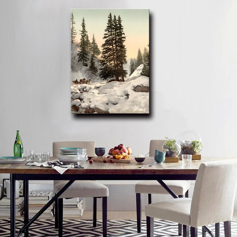 Natural Scenery Painting Chinese Winter Nature Landscape Oil Painting on Canvas