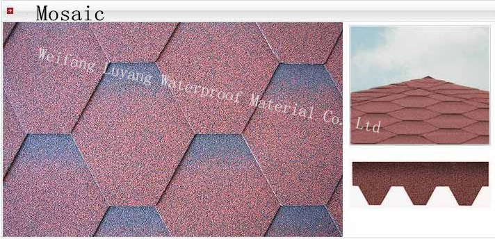 Mosaic Type Colorful Asphalt Shingle, Colorful Roofing Tile
