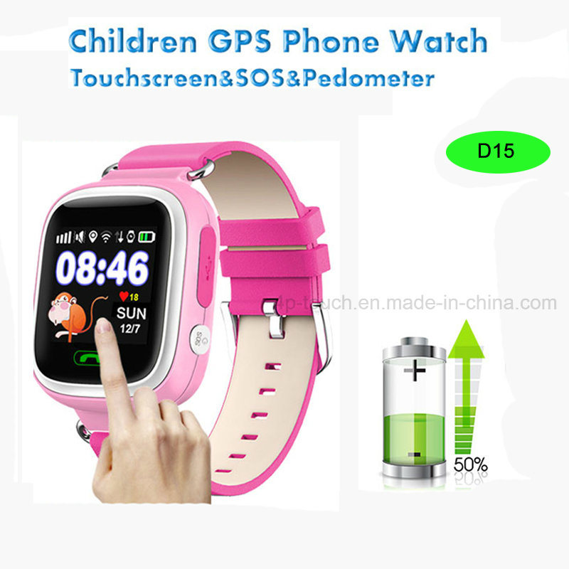 Touch Screen Kids GPS Tracker Watch with GPRS Real-Time Location D15