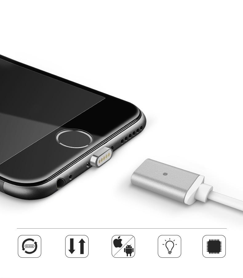 Magnet USB Cable Quick Charge Magnetic Data Cable 2.0 for iPhone