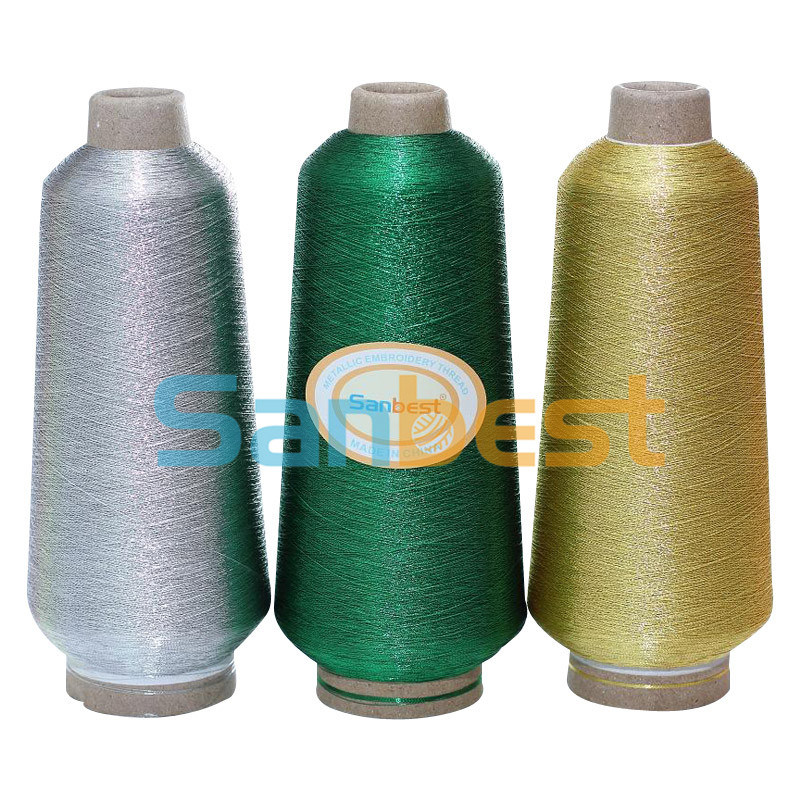 Metallic Embroidery Thread with Polyester or Rayon Core Yarn (Silver, Gold and Colors)